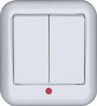 Выключатель Прима О/У двухклавишный с подсветкой