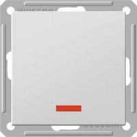 Выключатель W59 одноклавишный матовый хром без рамки с подсветкой