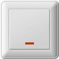 Переключатель W59 одноклавишный бел.  с подсветкой